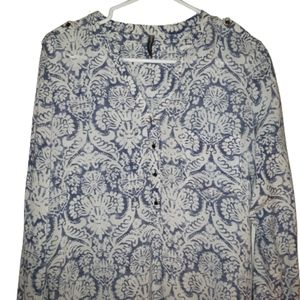 Lois half button down very light blouse size small